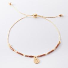 Bransoletka z monetą i brązowymi koralikami Miyuki
