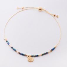 Bransoletka z monetą i kolorowymi koralikami Miyuki