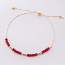 Bransoletka z czerwonymi kryształkami i koralikami Miyuki