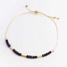 Bransoletka z czarnymi kryształkami i koralikami Miyuki