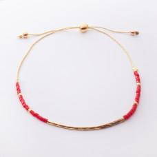Bransoletka z rurką diamentowaną i czerwonymi koralikami Miyuki