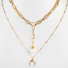 Naszyjnik z grubych łańcuszków z perłą i rogiem obfitości złoty 44,5cm