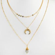 Naszyjnik z księżycem i perłą złoty 46cm