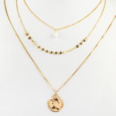 Naszyjnik z monetą i perłą złoty 46cm