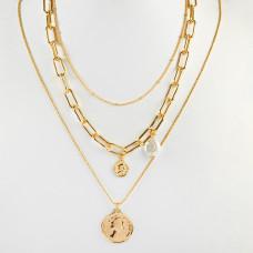 Naszyjnik z monetami i perłami złoty 45cm