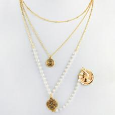 Naszyjnik z monetą i łańcuchem z pereł złoty 44,5cm