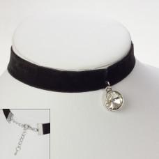 Choker aksamitka z okrągłym kryształem
