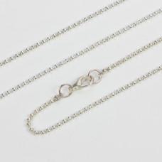 Łańcuszek bulion w kolorze srebrnym z zawieszką gratis 77cm