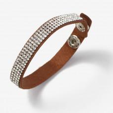 Bransoletka wysadzana kryształkami brązowa 10mm
