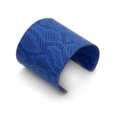 "Niebieska bransoletka cuff ze skórki 72mm ""uniwersalna"""