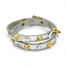 Srebrna bransoletka ćwieki z cyrkoniami 2x20cm