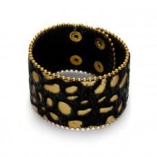 Bransoletka panterka włochata w kolorze czarnym i złotym 18-21cm