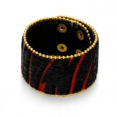 Czarno czerwona bransoletka włochata zebra 18-21cm