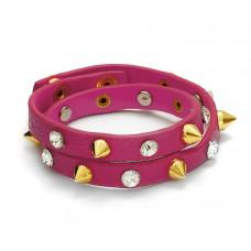 Różowa bransoletka ćwieki z cyrkoniami 2x20cm