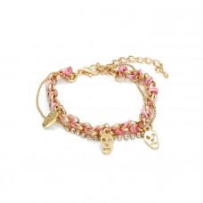 Różowa bransoletka łańcuszek z czachami przeplatany 18-21cm
