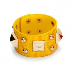 Żółta bransoletka duże piramidki na wężowej skórce 18-21cm