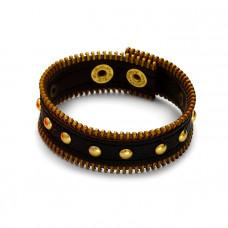 Czarna bransoletka z zamkami 18-21cm