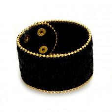 Czarna bransoletka włochata panterka 18-21cm