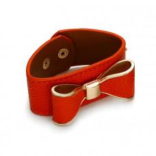 Pomarańczowa bransoletka kokardka w skórze 18-21cm