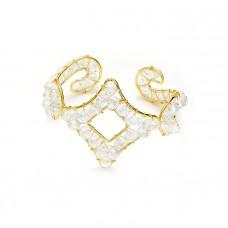 Bransoletka pleciony romb z kryształków crystal ab 18-21cm