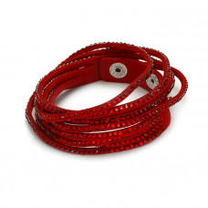 Czerwona bransoletka zamsz wysadzany kryształkami 18-21cm