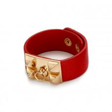 Czerwona bransoletka z zawleczką złotą 18-21cm