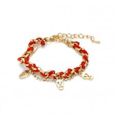 Czerwona bransoletka łańcuszek z czachami przeplatany 18-21cm