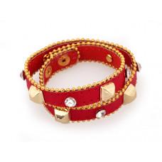 Bransoletka kwadratowe ćwieki i kryształki na skórze czerwona