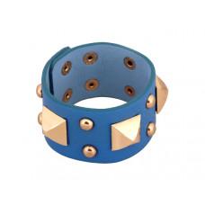 Bransoletka duże piramidki na wężowej skórce błękitna 18-21cm