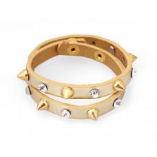 Bransoletka bransoletka ćwieki z kryształkami w kolorze złota 2x20cm