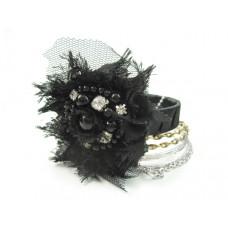 Zestaw bransoletek czarny kwiat z łańcuszkami 67mm