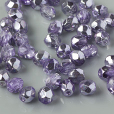 Fire Polish Coated 1/2 Silver/Violet (K2208CR) 4mm