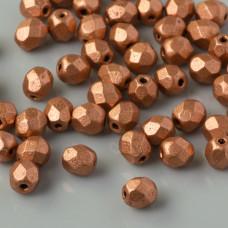 Fire Polish Matte Metallic Copper (K0177JT) 4mm