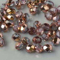 Fire Polish Copper - Lt. Sapphire (C30020) 4mm