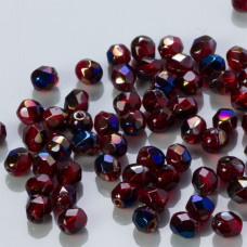 Fire Polish Blue Iris -  Ruby (BR90100) 4mm