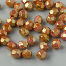 Fire Polish Luster-Opaque Rose/Gold Topaz (AK02010) 4mm