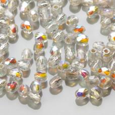 Fire Polish Silver Lined - Crystal AB (SLX00030) 3mm