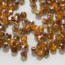 Fire Polish Copper - Medium Topaz (C10040) 3mm