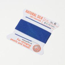 Nici jedwabne z igłą dark blue 0,7mm