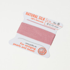 Nici jedwabne z igłą dark pink 0,7 mm