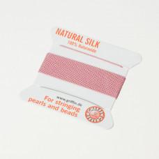 Nici jedwabne z igłą dark pink 0,5 mm