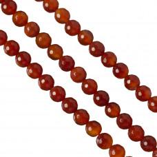 Karneol kulki fasetowane czerwone 10mm