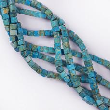 Jaspis cesarski kostka niebieska 6mm