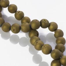Agat z druzą platerowany kulka złota 14mm