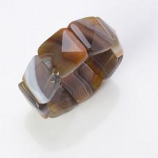 Bransoletka agat fasetowany kwadrat brązowy 26mm