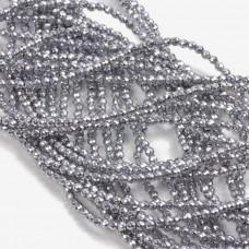 Hematyt kulki fasetowane srebrne 2mm