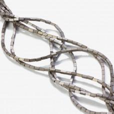 Hematyt platerowany matowy czworokąt srebrny 4x2mm