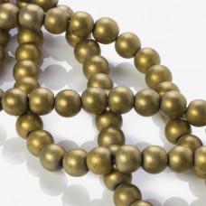 Hematyt kulka platerowana matowa złota 10mm