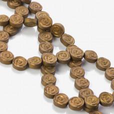 Hematyt platerowany płaskie róże matowe brązowe 10x4mm