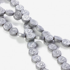 Hematyt platerowany płaskie róże matowe srebrne 10x4mm